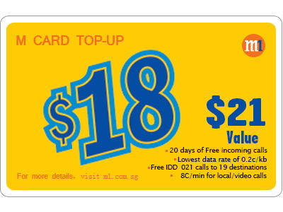 M1 M Card $18 Top Up